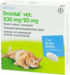 DRONTAL VET 230/20 mg tabl, kalvopääll 2 fol